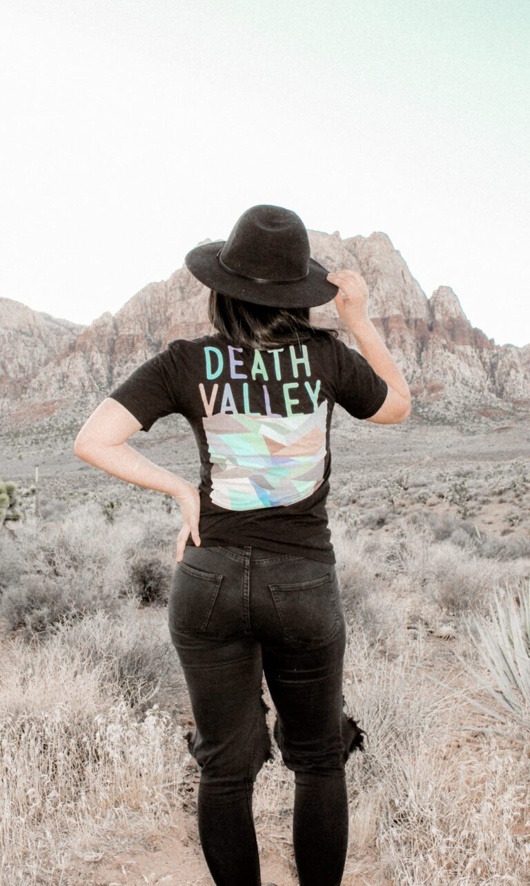 Woman in nature with Death Valley shirt on